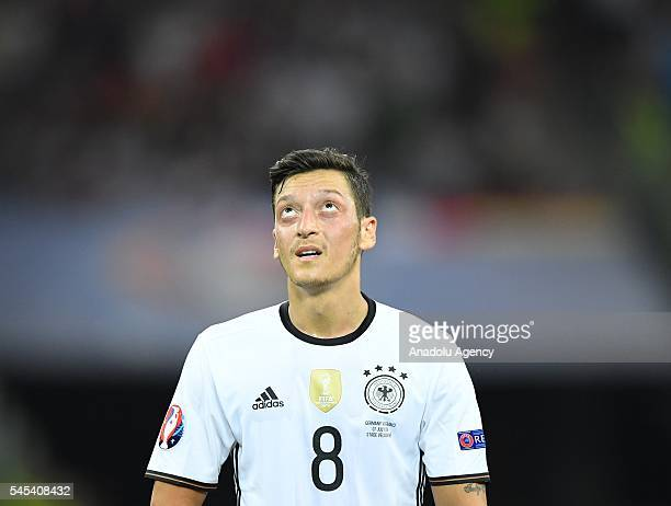 Mesut Ozil of Germany gets upset after losing against France following the UEFA Euro 2016 semi final match between Germany and France at Stade...