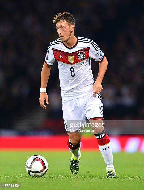 Mesut Ozil of Germany in action during the EURO 2016 Qualifier between Scotland and Germany at Hamden Park on September 7 2015 in Glasgow Scotland