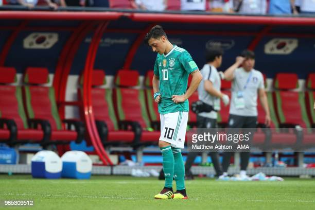 Mesut Ozil of Germany looks dejected at the end of the 2018 FIFA World Cup Russia group F match between Korea Republic and Germany at Kazan Arena on...
