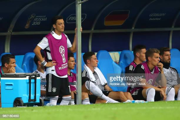 Mesut Ozil of Germany looks on from the bench during the 2018 FIFA World Cup Russia group F match between Germany and Sweden at Fisht Stadium on June...