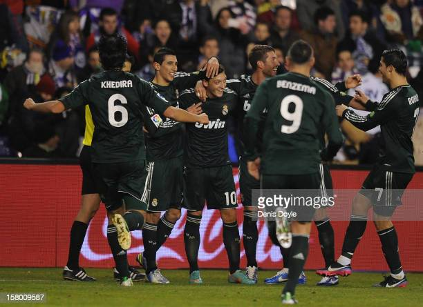 Mesut Ozil of Real Madrid CF celebrates after scoring Real's 3rd goal during the La Liga match between Real Valladolid CF and Real Madrid CF at...