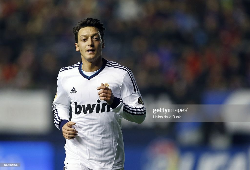Mesut Ozil of Real Madrid CF looks on during the La Liga match between CA Osasuna and Real Madrid CF at Estadio Reyno de Navarra on January 12, 2013 in Pamplona, Spain.