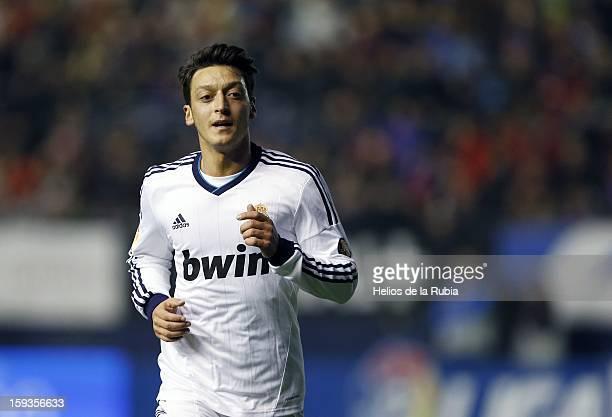 Mesut Ozil of Real Madrid CF looks on during the La Liga match between CA Osasuna and Real Madrid CF at Estadio Reyno de Navarra on January 12 2013...