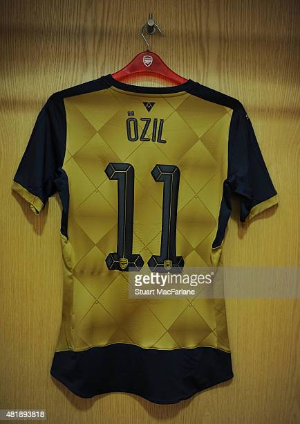 Mesut Ozil's shirt in the Arsenal changing room before the match between Arsenal and Olympique Lyonnais at Emirates Stadium on July 25 2015 in London...