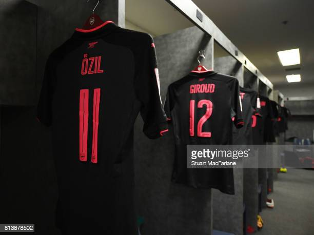 Mesut Ozil's shirt in the Arsenal changing room before the preseason friendly match between Sydney FC and Arsenal at ANZ Stadium on July 13 2017 in...