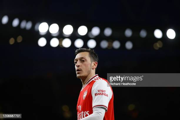 Mesut Özil of Arsenal in action during the Premier League match between Arsenal FC and Newcastle United at Emirates Stadium on February 16, 2020 in...