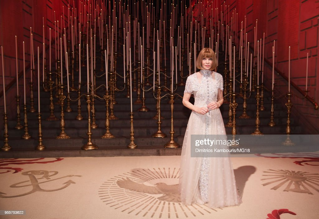 Met Gala Chairperson Anna Wintour attends the Heavenly Bodies: Fashion & The Catholic Imagination Costume Institute Gala at The Metropolitan Museum of Art on May 7, 2018 in New York City.