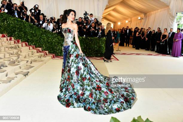 Met Gala Host Amal Clooney attends the Heavenly Bodies Fashion The Catholic Imagination Costume Institute Gala at The Metropolitan Museum of Art on...