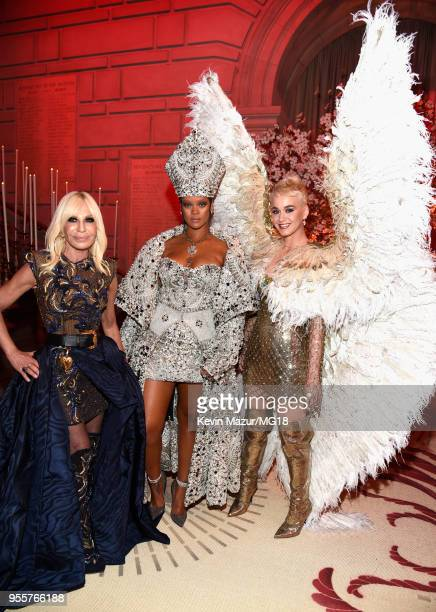 Met Gala Host Donatella Versace 2018 Met Gala Host Rihanna and Katy Perry attend the Heavenly Bodies Fashion The Catholic Imagination Costume...