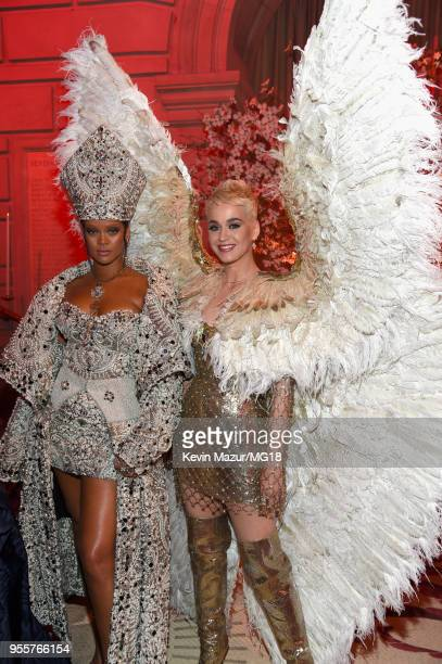 Met Gala Host Rihanna and Katy Perry attend the Heavenly Bodies Fashion The Catholic Imagination Costume Institute Gala at The Metropolitan Museum of...