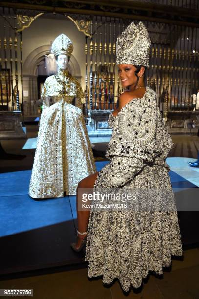 Met Gala Host Rihanna attends the Heavenly Bodies Fashion The Catholic Imagination Costume Institute Gala at The Metropolitan Museum of Art on May 7...