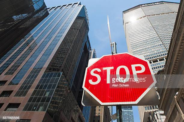 met life building and stop sign