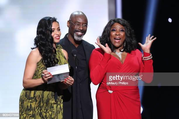 Meta Golding Isaiah Washington and Loretta Devine speak onstage during the 49th NAACP Image Awards at Pasadena Civic Auditorium on January 15 2018 in...