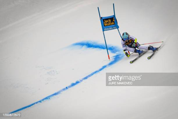 Meta Hrovat of Slovenia competes during the second run of the FIS Alpine Skiing World Cup giant slalom in Kranjska Gora on February 15, 2020.