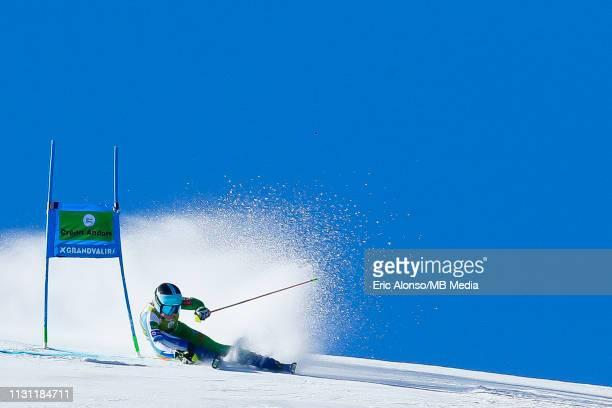 Meta Hrovat of Slovenia during the Audi FIS Alpine Ski World Cup Women's Giant Slalom on March 17, 2019 in Andorra la Vella, Andorra.