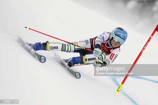 Meta Hrovat of Slovenia in action during the Audi FIS Alpine Ski World Cup Women's Giant Slalom in January 16, 2021 in Kranjska Gora, Slovenia.