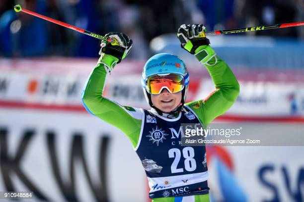 Meta Hrovat of Slovenia takes 3rd place during the Audi FIS Alpine Ski World Cup Women's Giant Slalom on January 27 2018 in Lenzerheide Switzerland