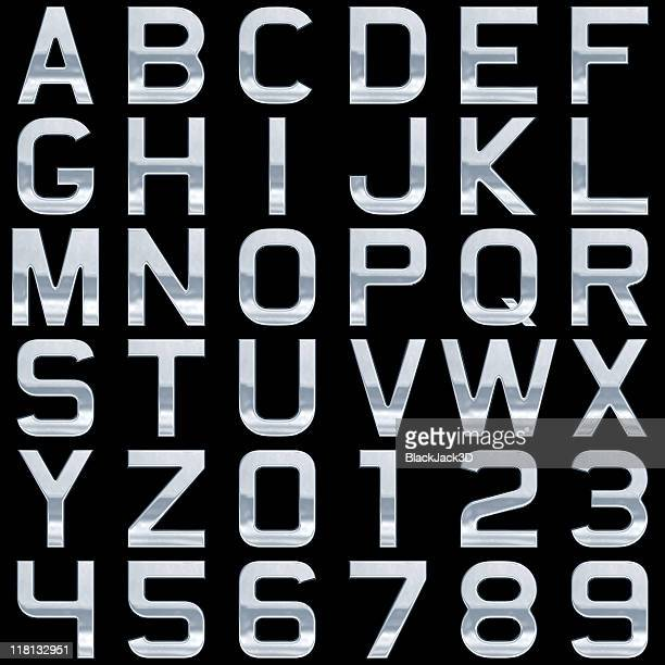 metal alphabet (extra large size!). isolated on black - font stock pictures, royalty-free photos & images