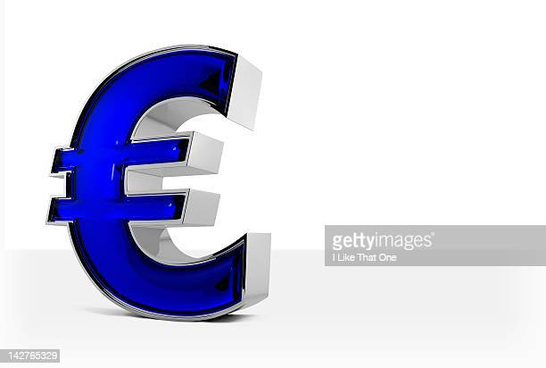 Metal and blue glass Euro symbol, on white backgro