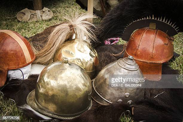 Metal and leather helmets worn by Gallic warriors Celtic civilisation 4th3rd century BC Historical reenactment