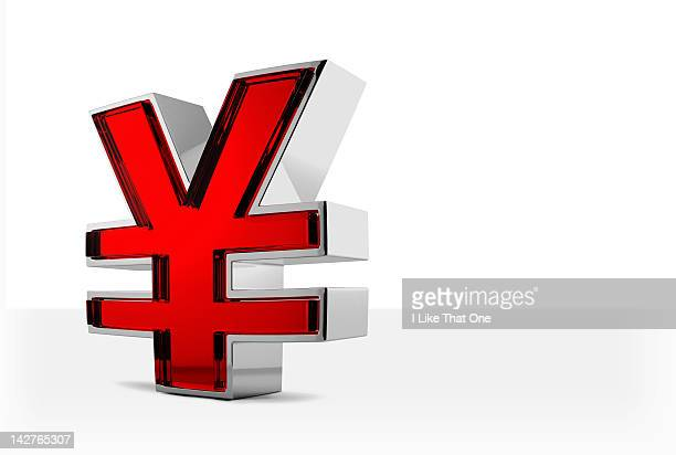 Metal and red glass Yen symbol
