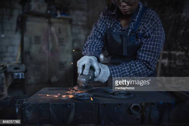 metal art - work glove stock photos and pictures