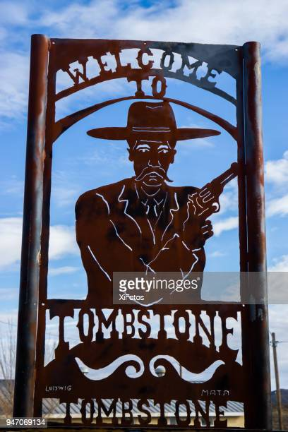 metal art welcome sign of tombstone, az - tombstone arizona stock pictures, royalty-free photos & images