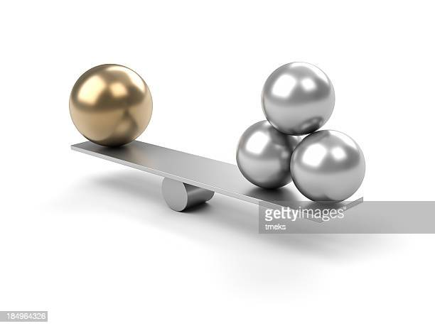 metal balance with large ball on one side and 3 small balls - imbalance stock pictures, royalty-free photos & images