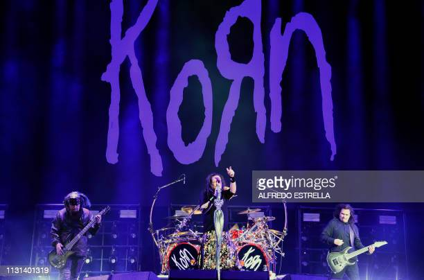 US metal band Korn performs during the second day of the 'Vive Latino' music festival in Mexico City on March 17 2019