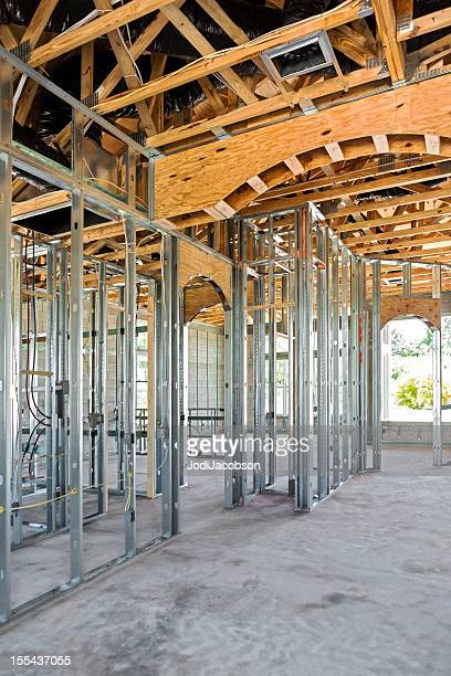 metal beam construction on a residential structure
