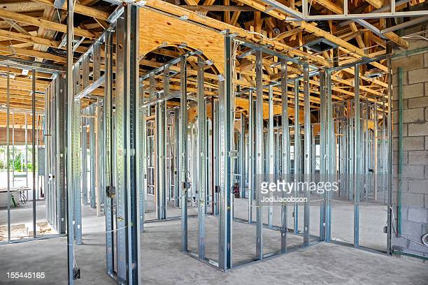 metal beam construction on a residential structure - wall building feature stock pictures, royalty-free photos & images