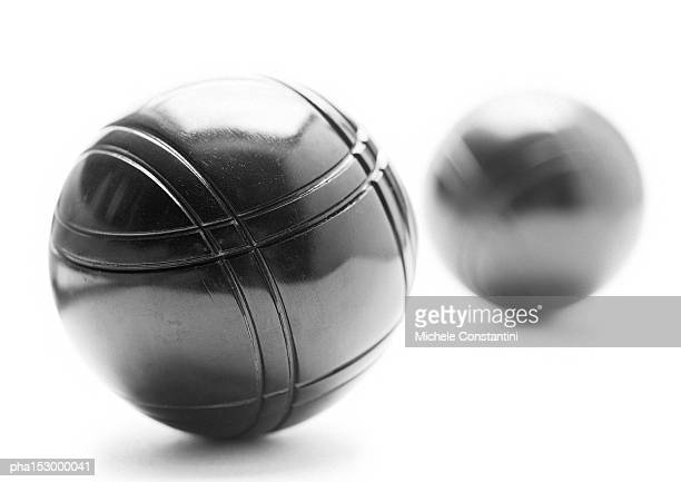 Metal bocce balls, b&w.