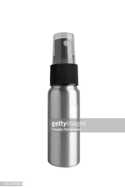 metal bottle with spray on white background - cylinder stock pictures, royalty-free photos & images