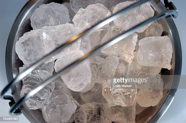 Metal bucket containing ice cubes