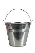 Metal bucket isolated on white background