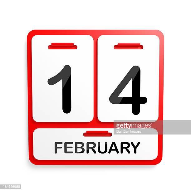 Metal calendário vermelho - 14 de Fevereiro