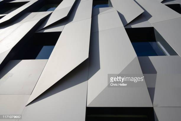 metal clad facade of music school or conservatory by kengo kuma aix-en-provence - capital region stock pictures, royalty-free photos & images