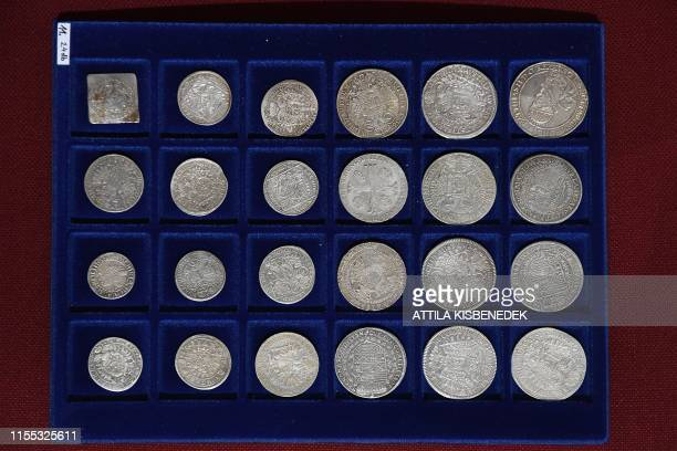 Metal coins of a Holocaust victim's collection are seen on a velvet tray in the Balatoni Museum in the town of Keszthely 200 km west of Budapest on...
