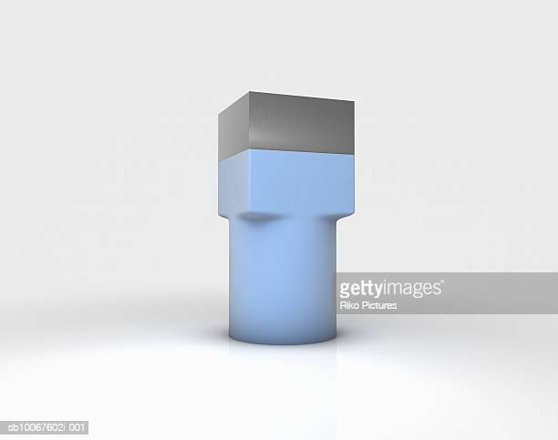 Metal cube forced into rubber cylinder (Digitally Generated Image)
