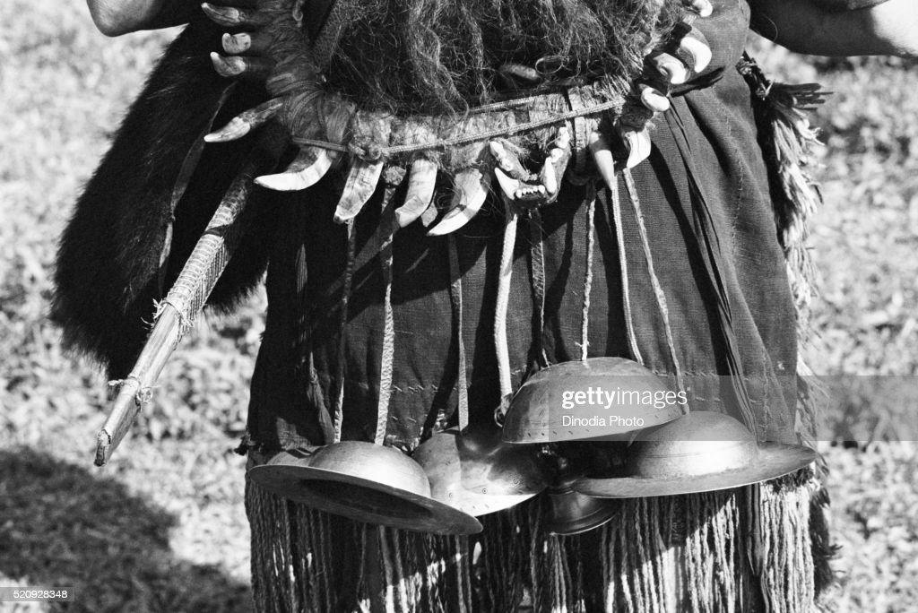 Metal cymbals used to provide adornment music, Hill Miri tribe, Arunachal Pradesh, India 1982 : Stockfoto