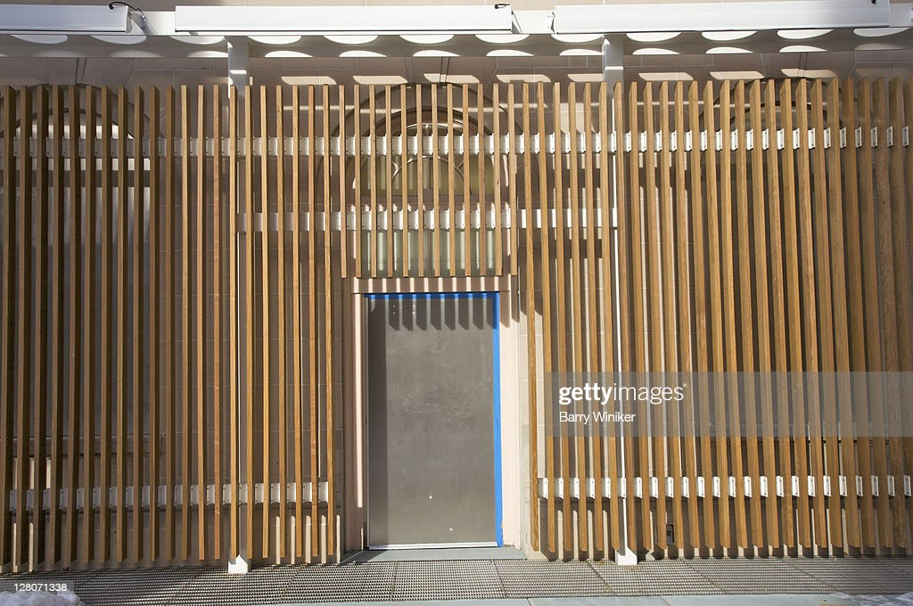 Metal Door Surrounded By Modern Vertical Wood Slat Design Motif At New Entrance To El Museo Del Barrio Manhattan Upper East Side Nyc Usa Stock Photo | Getty ... & Metal Door Surrounded By Modern Vertical Wood Slat Design Motif At ... pezcame.com