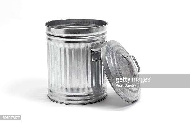 metal dustbin lid off - garbage bin stock pictures, royalty-free photos & images