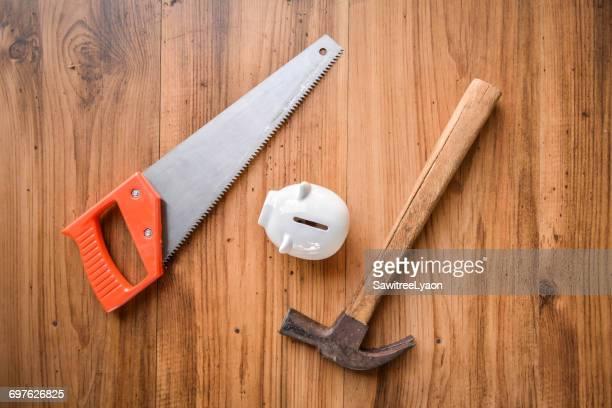 Metal Equipment On Wood
