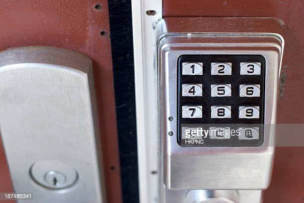 metal exterior door with electronic touch keypad combination lock - touchpad stock pictures, royalty-free photos & images