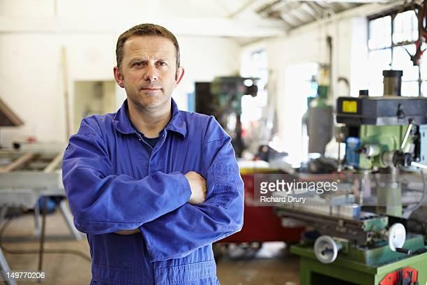 Metal fabricator in workshop