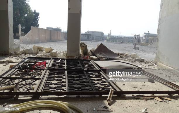 A metal fence lies on the floor after Russian airstrikes hit Mishmishan village of Idlib's Jisr alShughur district in Syria on February 07 2018...
