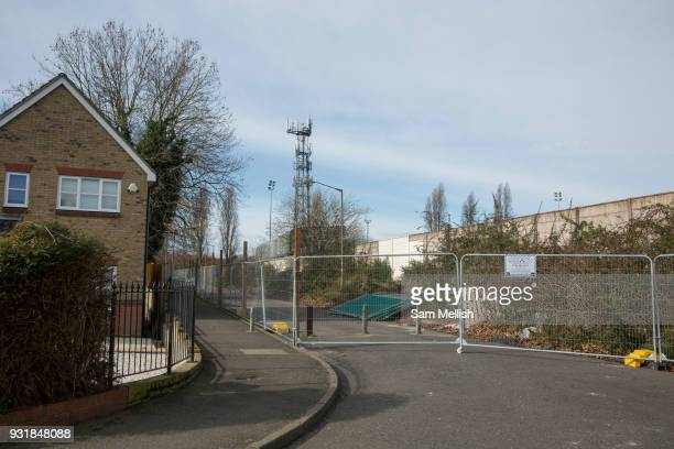 Metal fencing outside Dulwich Hamlet FC on 14th March 2018 in East Dulwich South London in the United Kingdom Meadow Residential an American property...