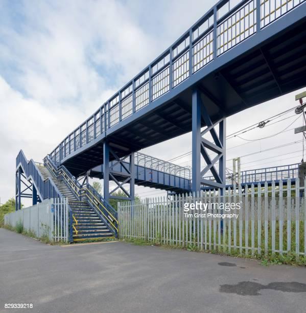 Metal Footbridge Across a Railway Line