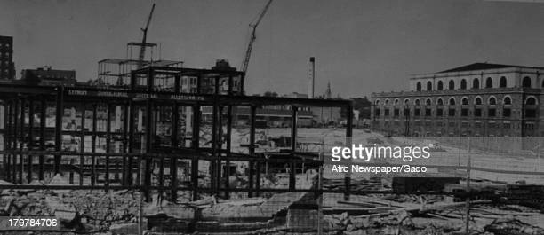 Metal framework goes up on the site of new state building, October 23, 1957.