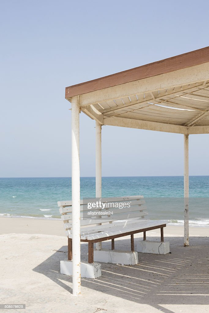 Metal gazebo with benches by the sea, Dibba, Oman : Stock Photo